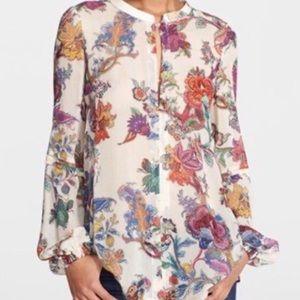 Just Cavalli 100% Silk Floral V-Neck Blouse